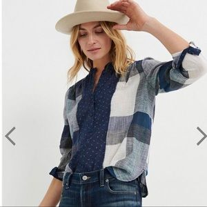 WORN ONCE Lucky Brand Plaid Popover, Size Small
